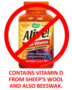 Alive Multi-Vitamin Adult Gummies are not vegan