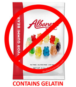 Albanese Gummy Bears contain parts of slaughtered pigs and cows.