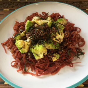 Beet noodles from the purple carrot vegan meal delivery