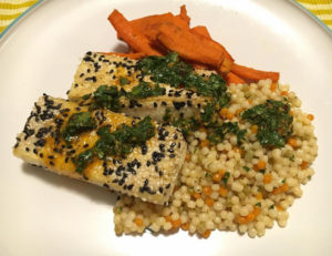 Sesame crusted tofu from Purple Carrot vegan meal delivery