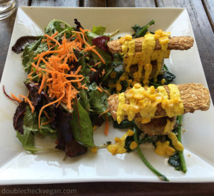 Vegan sea cake benedict at Real Food Daily in Pasadena