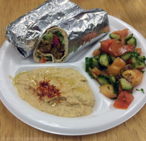 Vegan falafel wrap with hummus and shirazi salad at U-Pick in Pasadena
