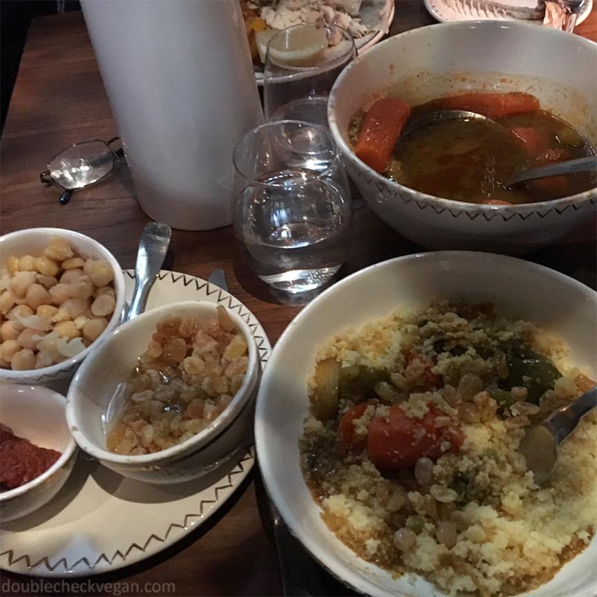 Seven vegetable cous cous at Le 404 Restaurant in Paris.