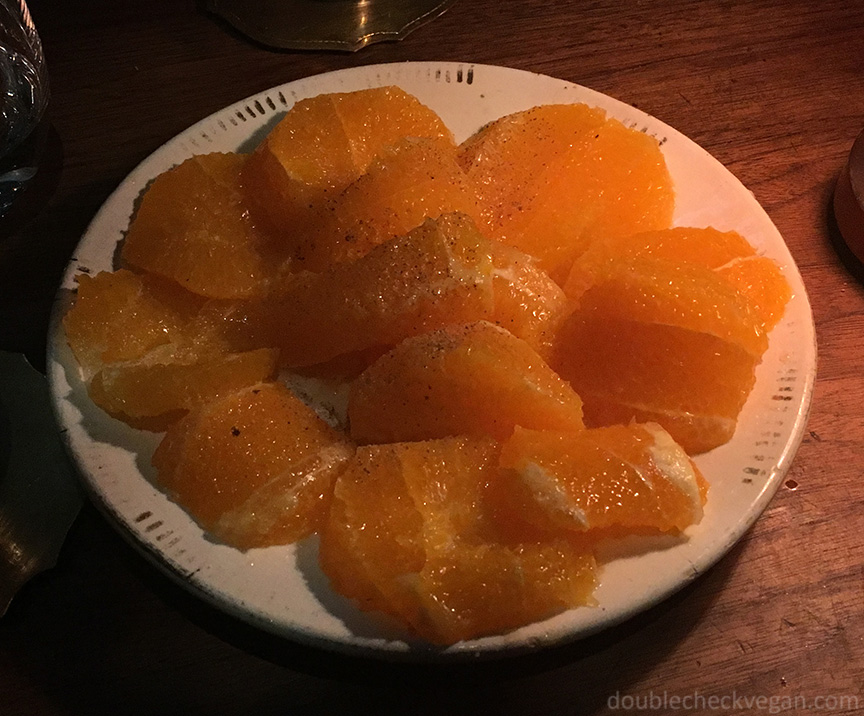 Refreshing orange dessert at Le 404 Restaurant in Paris.