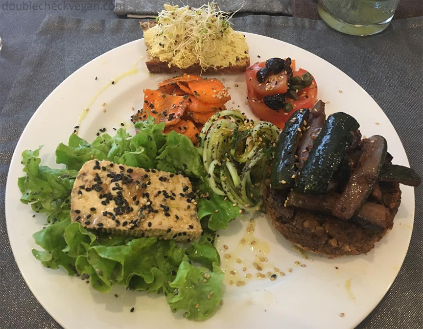 Vegan plate lunch from Carmen Ragosta in Paris.
