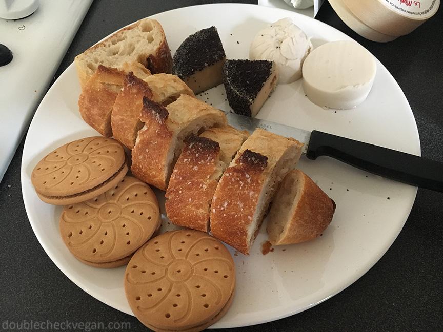Some vegan cheese and vegan cookies from Naturalia in Paris.