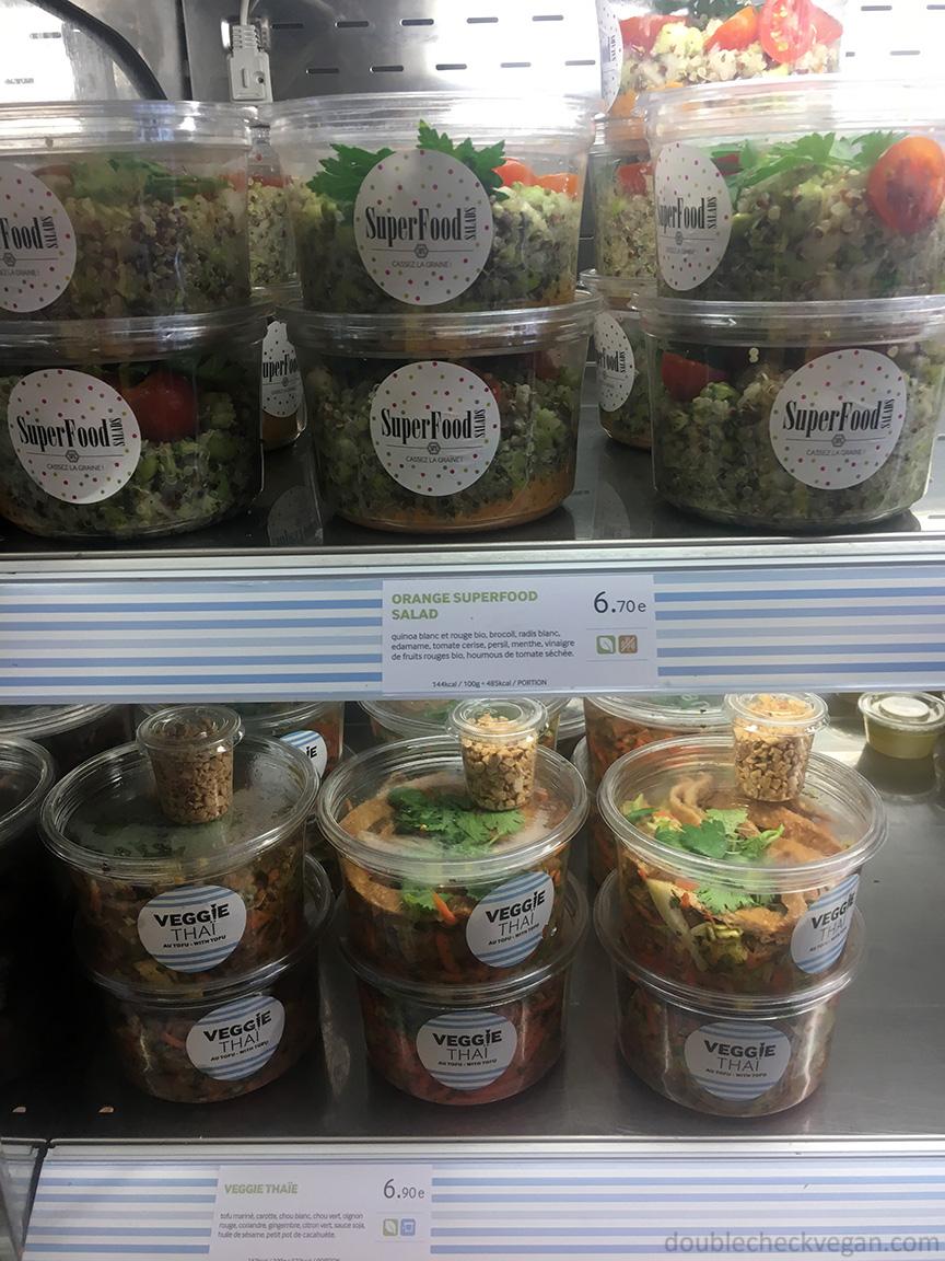 Some vegan options at Cojean in Paris.