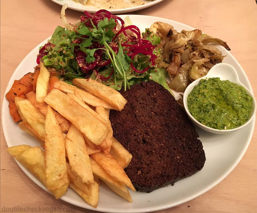 Vegan food in Paris - Vegan steak frites at Le Faitout Vegan in Paris.