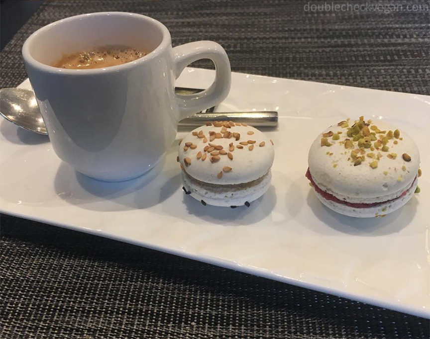 Vegan macarons and espresso at Gentle Gourmet in Paris.