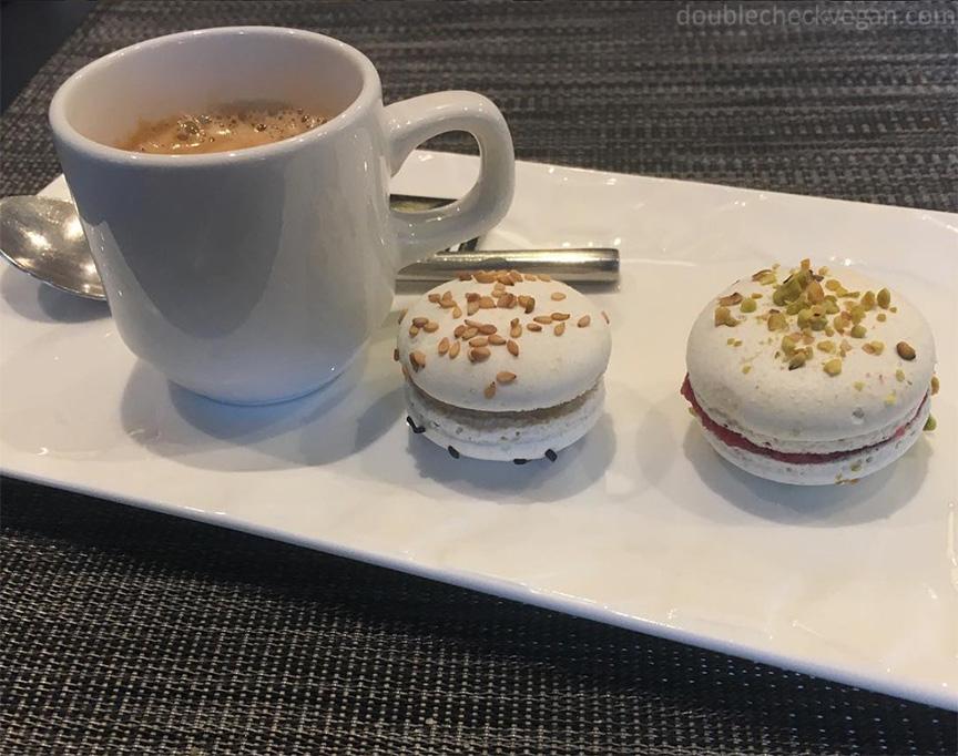 Vegan macarons and espresso at Gentle Gourmet in Paris.