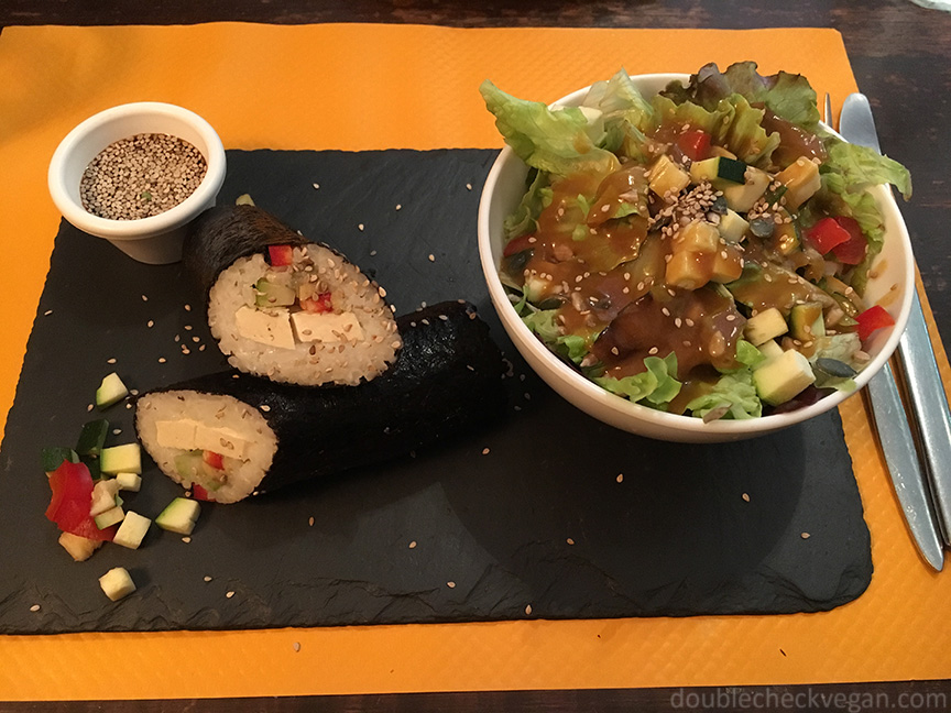 Vegan maki at H.O.P.E. cafe in Montmartre Paris.
