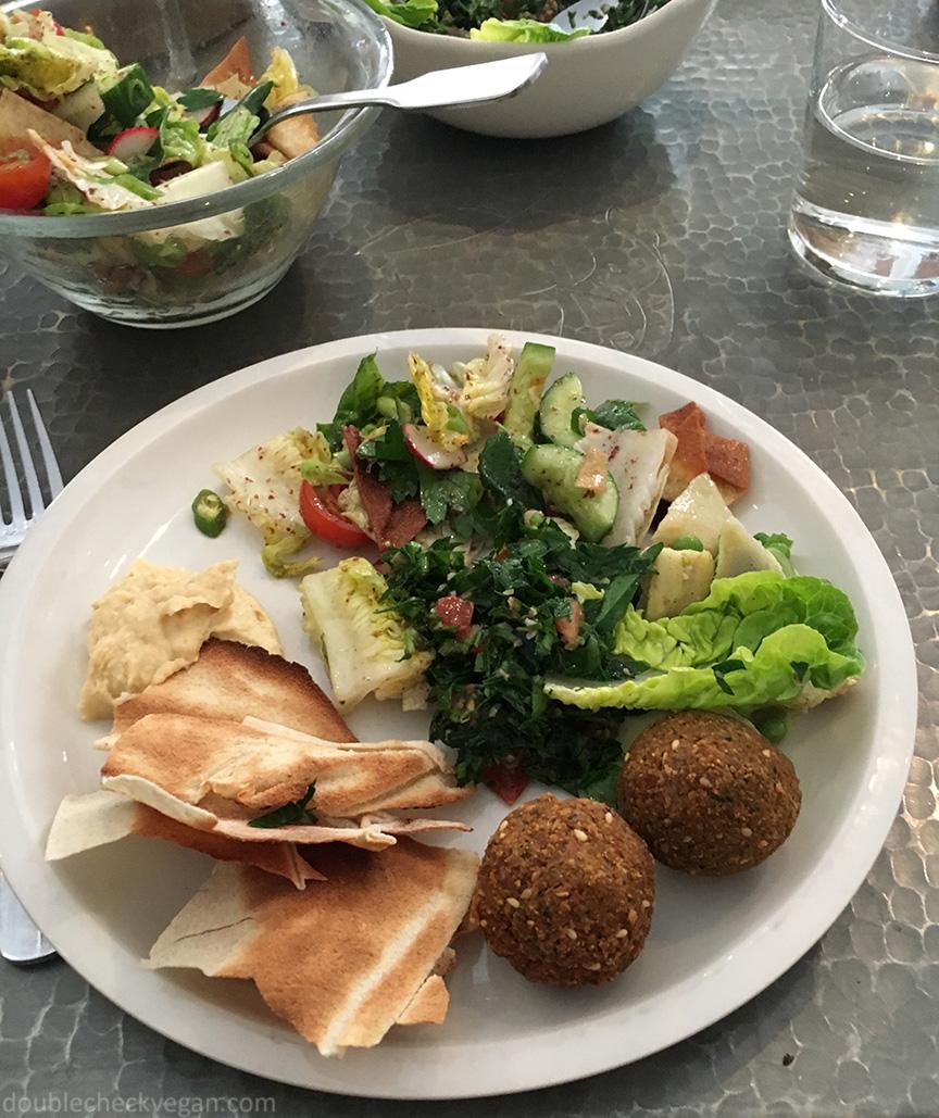 Fatoush salad and hummus at Liza in Paris.