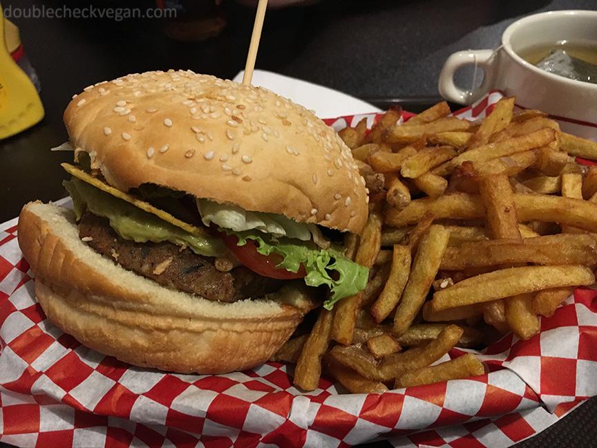 Vegan burger at VG in Paris.