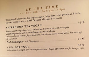 Vegan Afternoon Tea Menu at Shangri-La Hotel in Paris