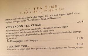Vegan Afternoon Tea Menu at Shangri-La Hotel in Paris