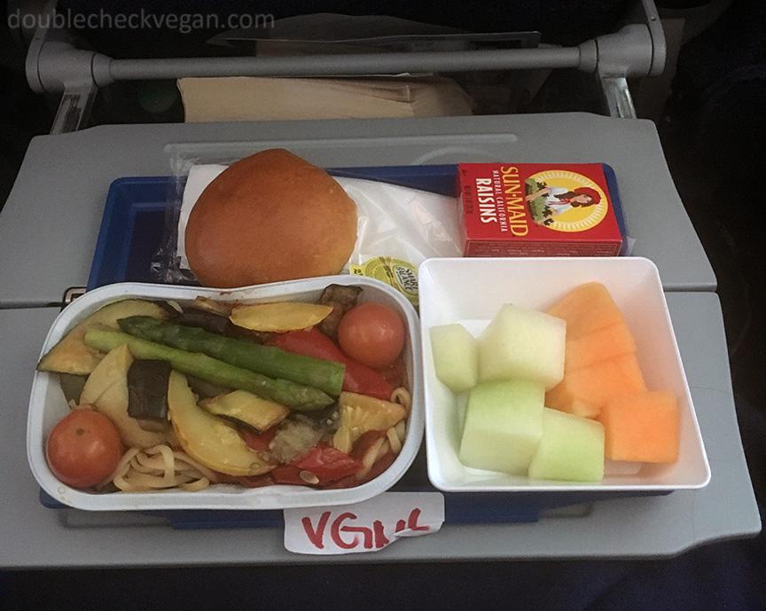 Vegan airplane food on Aeroflot airlines.