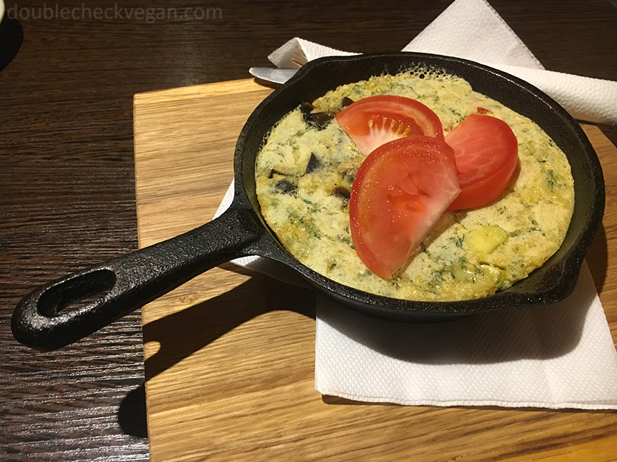 Vegan omelette that was more like a vegan frittata at Avocado cafe in Moscow.