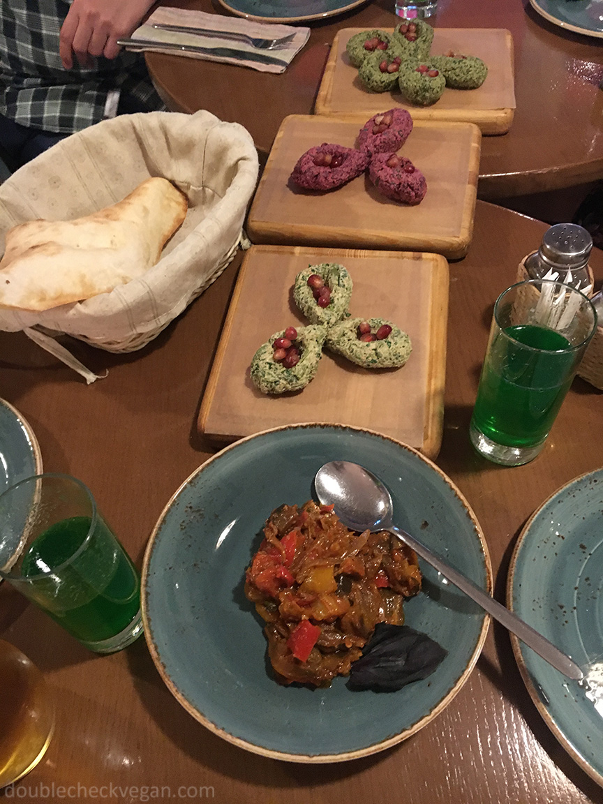 Vegan cold snacks at Cafe Batoni in Moscow.