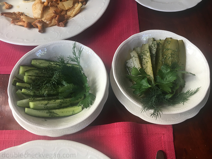 Soft salted and hard salted pickles at Cafe Pushkin in Moscow.
