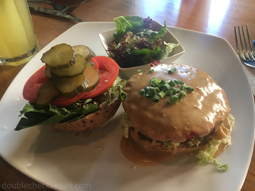 Miso vegan burger at Fresh vegetarian restaurant in Moscow.