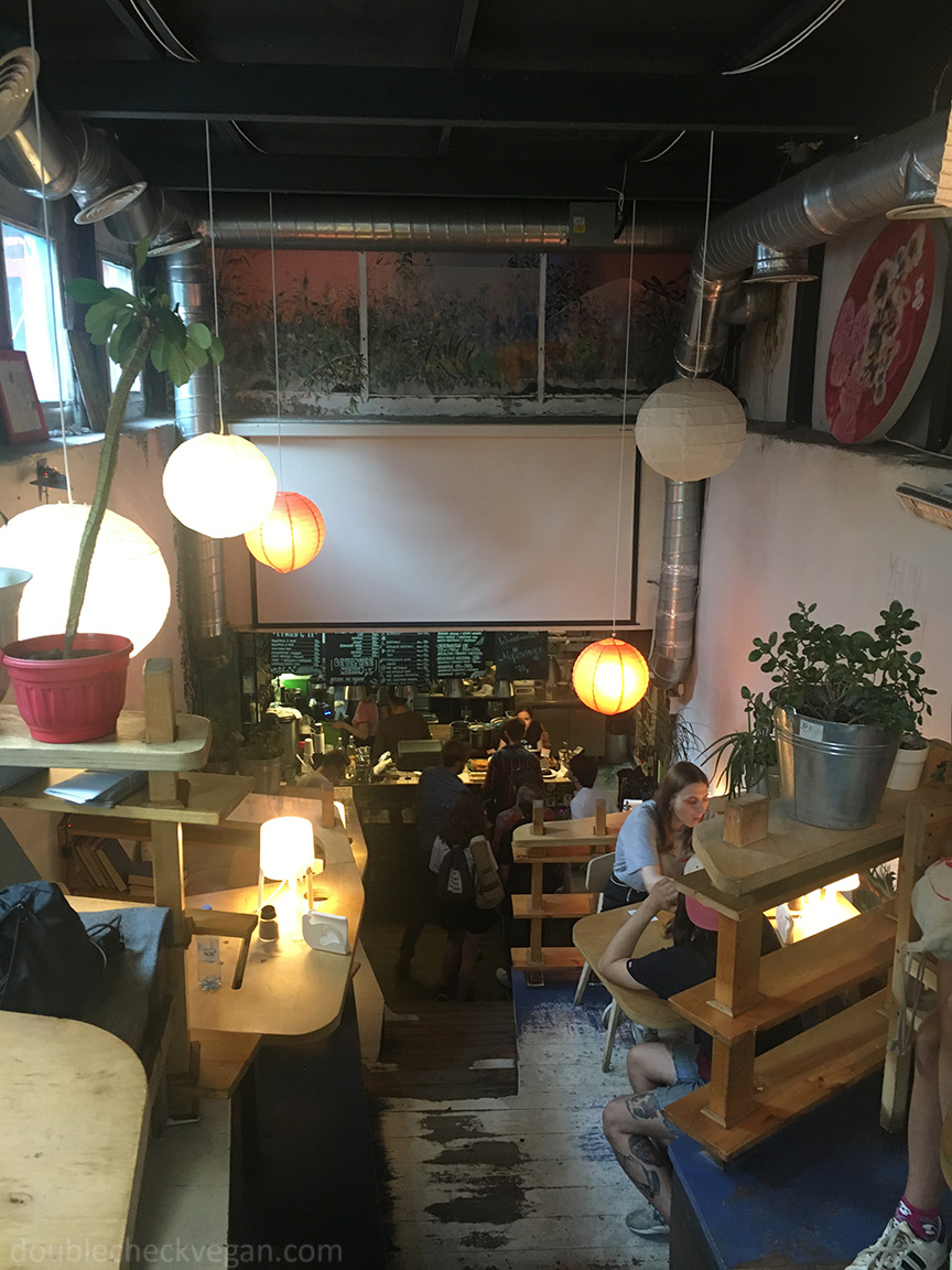 Inside Fruits & Veges vegan cafe in Moscow.