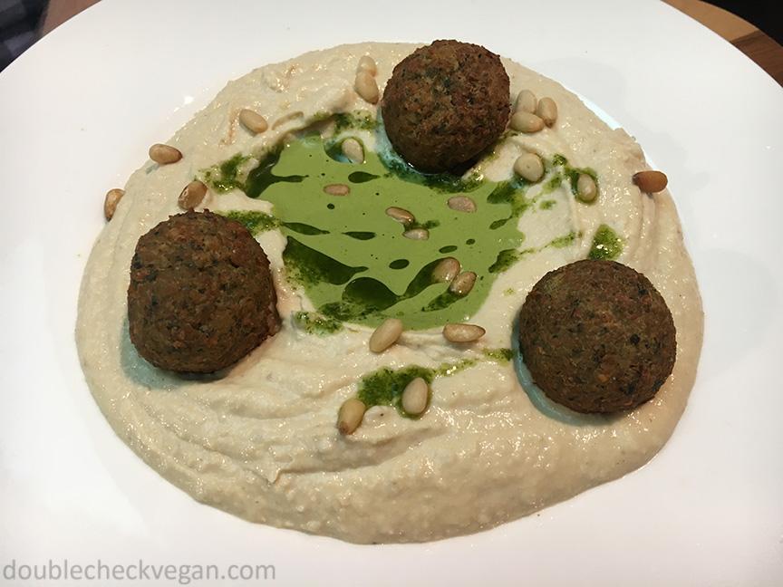 Vegan hummus and falafel GARAGE Museum in Moscow.