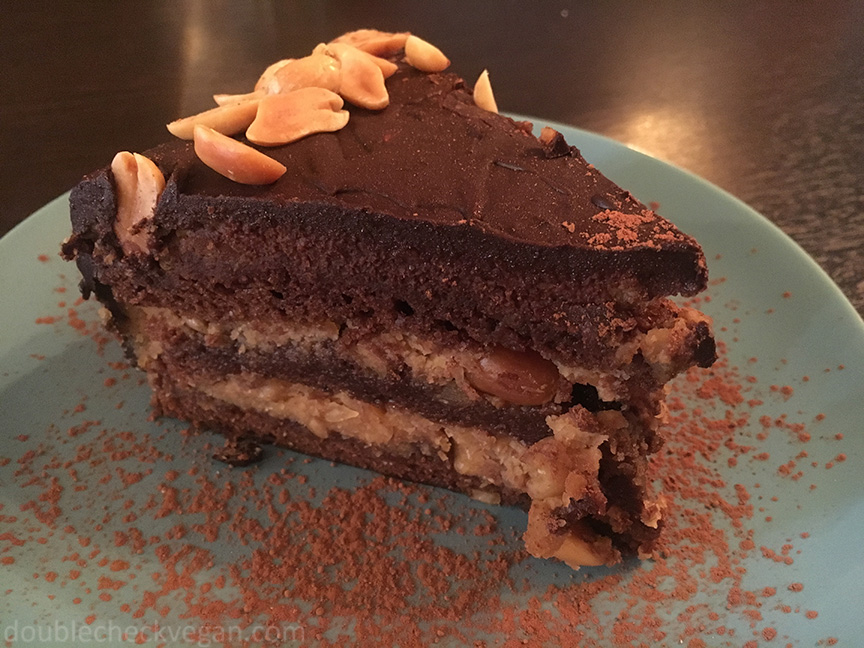 Vegan snickers cake at Ugol vegan cafe in Moscow.