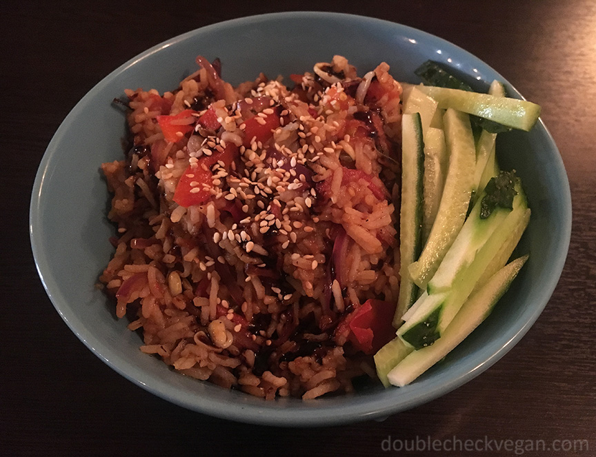 A dish that tasted like Spanish rice at Ugol vegan cafe in Moscow.