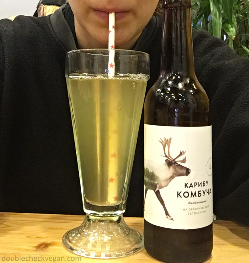 Kombucha with paper straw at The Loving Hut vegan restaurant in Moscow