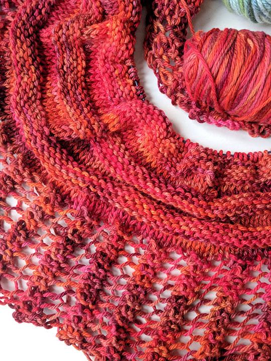 Scarf in progress using vegan yarn