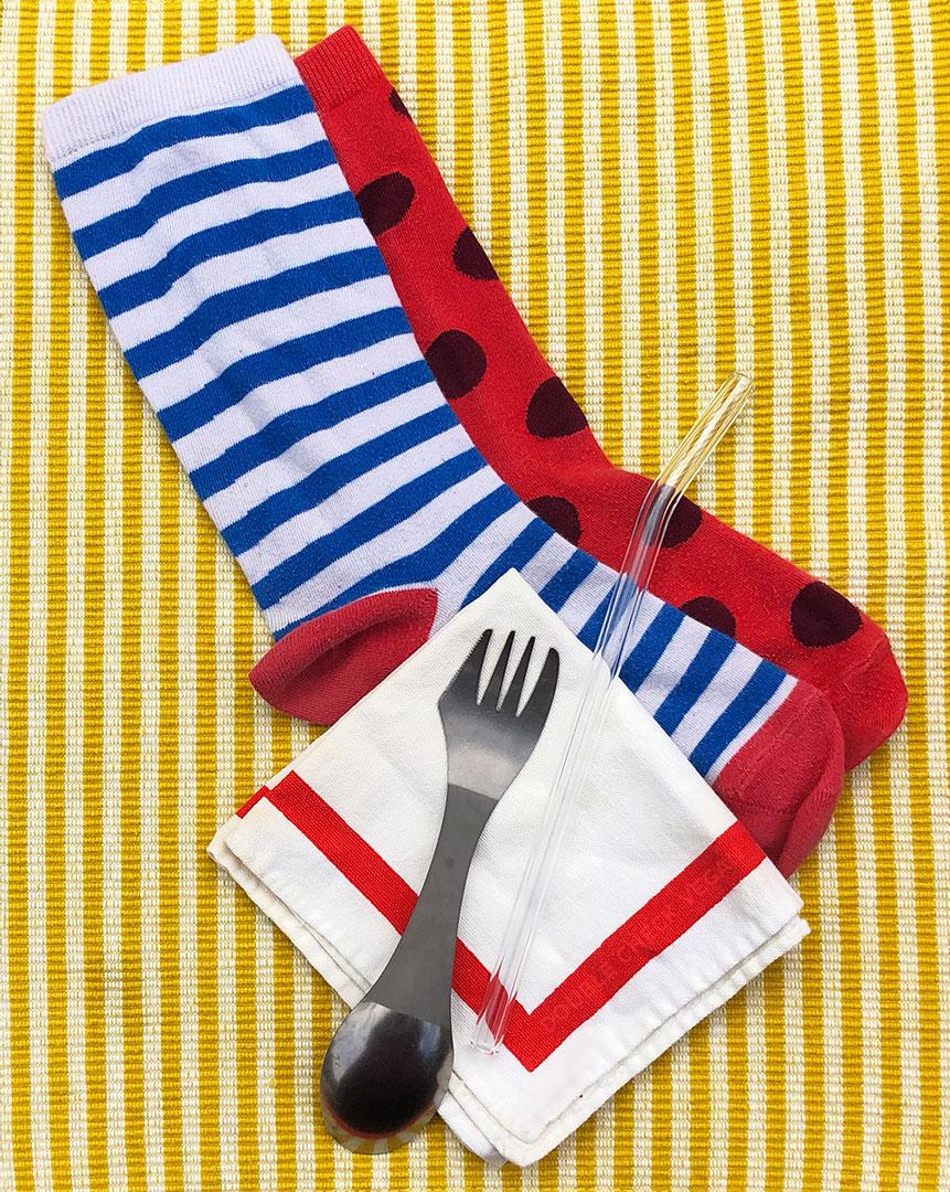 Plastic Free Socks Travel Utensil Case