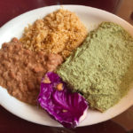 Vegan enchiladas with pipian verde at Olamendi's Dana Point