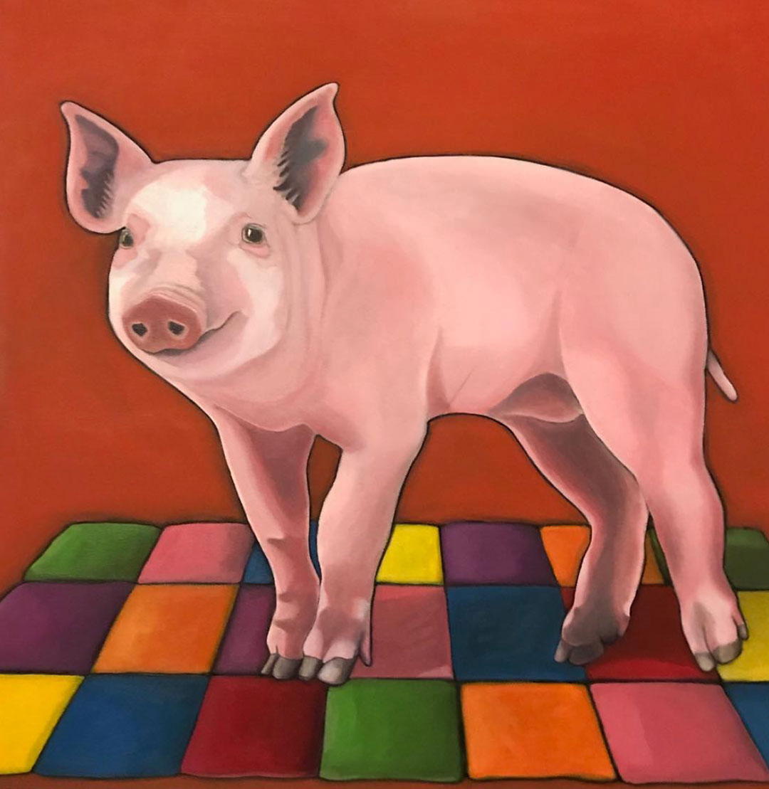 Vegan painting Pig on a Blanket by vegan artist Kristin Walsh