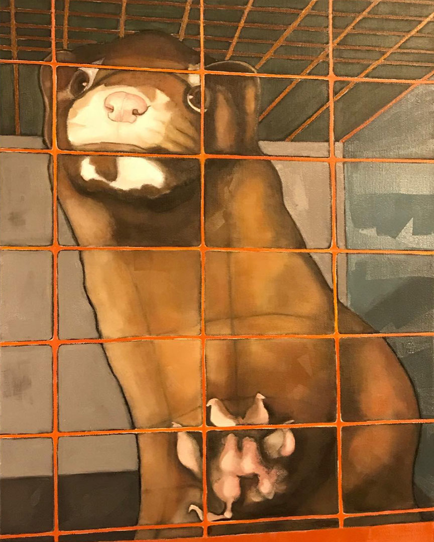 vegan painting The Face of Fur by vegan artist Kristin Walsh mink fur farm
