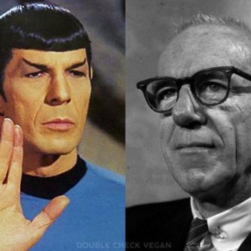 Spock was vegetarian, but Dr. Spock was vegan! And the best parenting book for vegans.